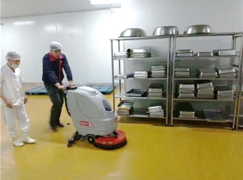 一台全自动洗地机 解决崇左食品厂夏天异味严重问题